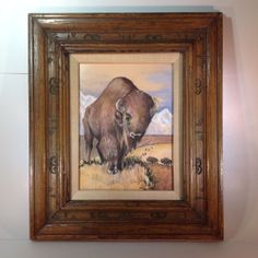 Vintage Western Chalk Art of Buffalo by Dick Shine with Branded Rustic Frame