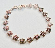 Daisy Charm Bracelet Sterling Silver Flower Jewelry Pink Rhinestone Flower Bracelet Summertime Jewelry Matte Silver Bracelet Sterling 925 by TheJewelryChain on Etsy