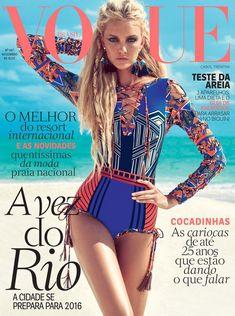 Caroline Trentini wears swimsuits Pose on Vogue Brazil Magazine November 2015 cover shoot