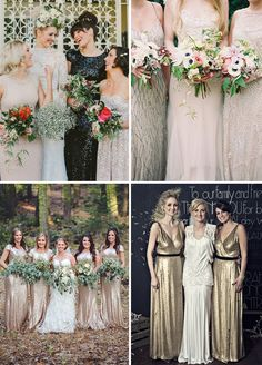 Gorgeous and Glam Long Sequin Bridesmaids Dresses Inspiration | www.onefabday.com