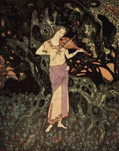 """And there, leaning against a moss-grown crumbling tree, was a spirit-like being out of another world!"" illustration by Edmund Dulac for Marie Alexandra Victoria's 'The Dreamer of Dreams. Edmund Dulac, Art And Illustration, Book Illustrations, Children's Picture Books, Art Database, Fantasy, Fashion Pictures, The Dreamers, Fairy Tales"