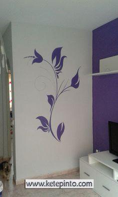Mural en lila para un salón gris | Salón comedor | Pinterest ...