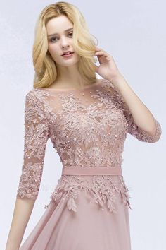 Affordable Long Half Sleeves Appliques Wedding Bridesmaid Dresses with Sash
