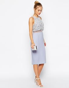 Image 4 ofASOS PETITE Pearl Embellished Crop Top Midi Dress