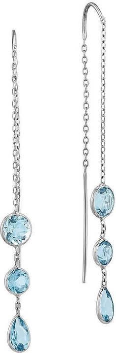 FINE JEWELRY Genuine Swiss Blue Topaz 14K White Gold Wire Earrings