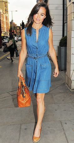 Middleton met up with friends wearing a casual sleeveless denim dress from Whistles