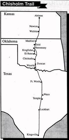 The Chisholm Trail was a trail used in the late 19th century to drive cattle overland from ranches in Texas to Kansas railheads. The portion of the trail marked by Jesse Chisholm went from his southern trading post near the Red River, to his northern trading post near Kansas City, Kansas. Immediately after the Civil War, he collected stray Texas cattle and drove them to railheads over the Chisholm Trail, shipping them to the East to feed citizens.