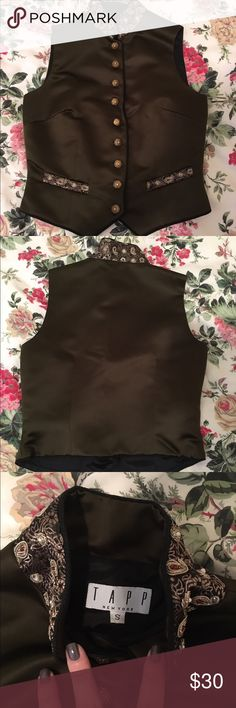 RARE Steampunk Vest with Gold Embroidered Detail Rare vintage TAPP New York satin vest with gold embroidered detail...in steampunk fashion. This vest is in perfect condition! TAPP New York Jackets & Coats Vests