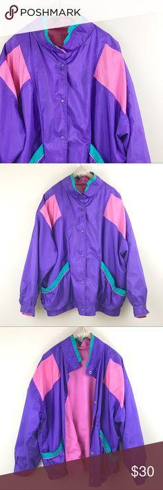 "Vintage   Multi Color Windbreaker Jacket Multi-color windbreaker jacket. Button snap closure, has big roomy side pockets. Size 22/24W of 2XL Bust: 50"" Length: 27"" Vintage Jackets & Coats"