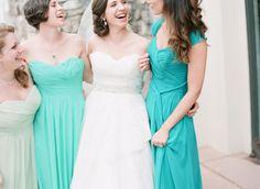 Bright blues and mint bridesmaid dresses: http://www.stylemepretty.com/colorado-weddings/avon-co/2014/10/01/beaver-creek-ski-resort-wedding/ | Photography: Mi Amore Foto - http://miamorefoto.com/