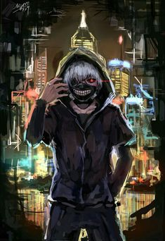Kaneki Ken, white hair, ghoul, city, mask; Tokyo Ghoul