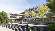 2013 wurde das Gymnasium mit Lucido® saniert - die Struktur der Fassade konnte erhalten werden, doch nun ist es ein Vorzeigeobjekt einer neuen Architektur: solar aktiv!! Gymnasium, Aktiv, Solar, Mansions, House Styles, Home Decor, Architecture, Nature, Decoration Home