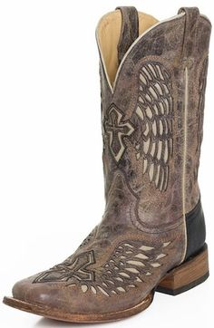A1323 Mens Corral Black Square Toe Boot Lightning Boots