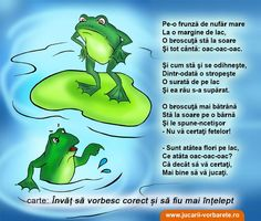 Poezie terapeutica: Broscutele certarete Obiective: corectarea sunetului R, diminuarea comportamentului agresiv fizic şi verbal Kids Poems, Kindergarten Activities, Raising Kids, Nursery Rhymes, Projects For Kids, Homeschool, Parenting, Teacher, Education
