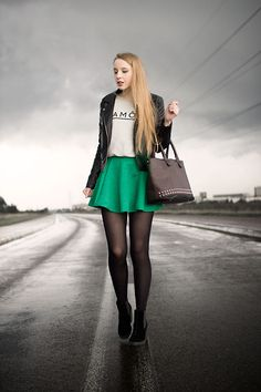 Black Leather Jacket, Brown Studded Bag, Green Skirt, Gray Sweatshirt, Black Boots