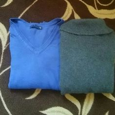 Sweater bundle A gray turtle neck sweater and a blue v neck sweater. Both can bee seen separate in my closet. Sweaters