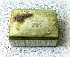 Decoupage wooden box , jewelry box , vintage style box , gift box , decoupaged box , home sweet home , birds , lace