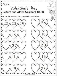 Free Valentine's Day math worksheet for preschool and kindergarten. Students write the numbers that come before and after on the hearts. This is a fun February activity for learning and reviewing numbers. This worksheet provides practice with numbers between 10 to 30.