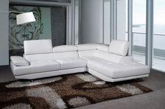 VICTORIA - Canapé d'angle cuir luxe blanc avec accoudoir et têtières relax