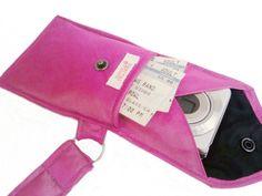 innnnntteresting!   FABULOUSLY FUCHSIA Recycled Men's Silk Necktie 2-Pocket Gadget Holder Wristlet - (iPhone 3g/3gs/4 Blackberry Droid Palm HTC Samsung Sidekick iTouch iPod Zune MP3 Camera Case)
