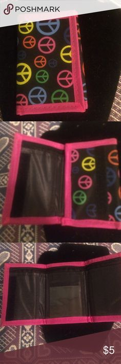 Peace sign wallet NWOT , Velcro close , two main pockets one with zipper, 3 card slots Bags Wallets