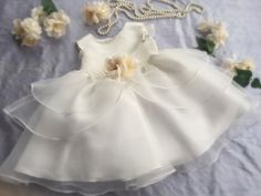 Stunning organza layers baby dress soft white ivory by PurdyGurly