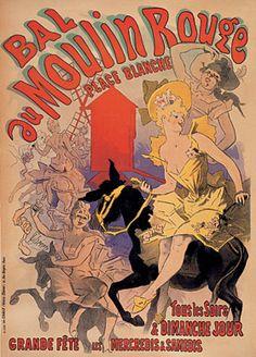 Litografia a cores, Jules Chéret, Bal du Moulin Rouge, 1889