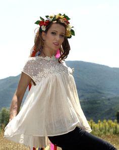 Blouse transparente en dentelle et voile de coton créée avec amour par Trendy Knits #DaWanda