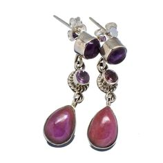 "Phosphosiderite, Amethyst 925 Sterling Silver Earrings 1 1/4"" EARR330519"