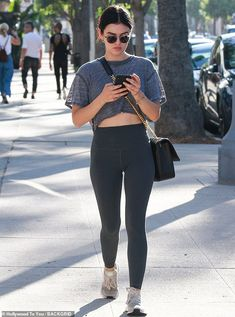 Sporty: Lucy Hale, was spotted heading to the gym in a grey cropped top and high-waist leggings Los Angeles on Friday Cute Preppy Outfits, Pll Outfits, Stylish Work Outfits, Summer Shorts Outfits, Crop Top Outfits, Stylish Outfits, Fashion Outfits, Fashion Clothes, Lucy Hale Style