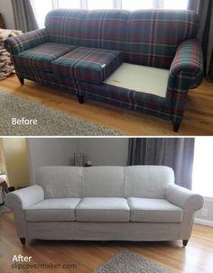 Gray Line Linen Slipcover For Old Sherrill Sofa
