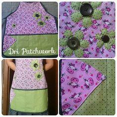 Avental com estampa de vaquinhas e flores. #avental #patchwork #costura