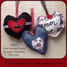 I've been busy stitching up some new heart ornaments for both my Etsy shop and our website. 100% handmade, I used recycled fabrics and beautiful sheer ribbons, and embellishments like felt, mini cr...
