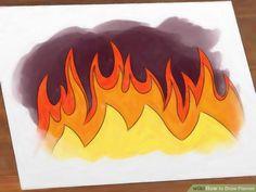 Natuur: Vuur & linosnede Hoe teken je vlammen/ vuur. Draw Flames Step 7