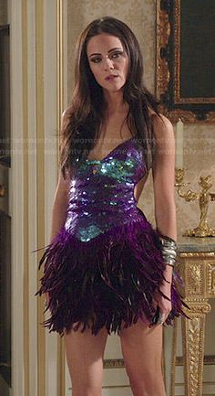 Princess Eleanor's purple sequin and feather dress on The Royals. Outfit Details: http://wornontv.net/47412/ #TheRoyals