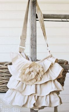 ruffled tote and tattered rose tea dyed