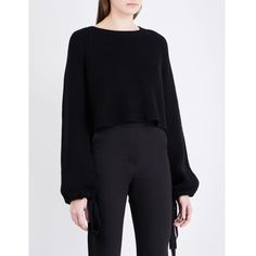 Ellery Monty cropped wool jumper ($825) ❤ liked on Polyvore featuring tops, sweaters, print sweater, layered sweater, oversized sweaters, chunky wool sweater and ribbed crop top