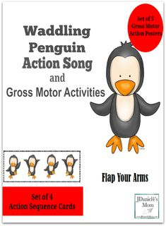 Waddling Penguin Action Song and Gross Motor Activity- This set contains 5 gross motor action poster and 4 gross motor sequence cards. This is one of the sequence cards. Gross Motor Activities, Movement Activities, Preschool Learning Activities, Preschool Themes, Winter Activities, Preschool Action Songs, Childcare Activities, Music Activities, Learning Games