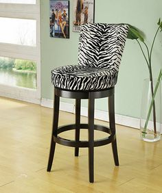 "Armen Living LC4044BAZE30 - Boston Swivel Barstool In Black Zebra Fabric 30"" Seat Height 