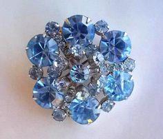 Blue rhinestone Brooch D style 1950s