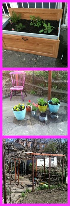 Get Creative in the Garden! Find old furniture and turn it into planters.  Two Dresser Drawers, stack them and attach with wood glue, Drill drainage holes in the bottom, Fill with organic soil and enjoy!  I also planted in antique watering cans and gave old wood a fresh can of paint.  http://girlsonthegoguide.blogspot.com/