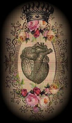 Anatomically correct heart with floral.