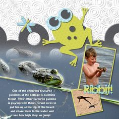 Ribbit It's A Boy Digital Scrapbook Layout; Instructions and Details: http://projectcenter.creativememories.com/photos/digitalnew_digital_projec/ribbit-its-a-boy-digital-scrapbook-layout.html ; Designed By: Beth Thomander; ____ Digital Photo Book / Scrapbook Software: Storybook Creator by Creative Memories;   ____Embellishments: Tiny Treasures Boy Digital Shapes, Tiny Treasures Digital Edges, Tiny Treasures Rubber Ducky Alpha Shapes, It's a Boy Digital Kit, It's a Boy Overlays; Font: A Bugs…