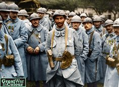 French soldiers receive the Military Medal for acts of bravery during the Battle of the Somme. France, 1916. Original image source: The National Library of Scotland Licensed under the Creative Commons(CC) BY-NC-SA