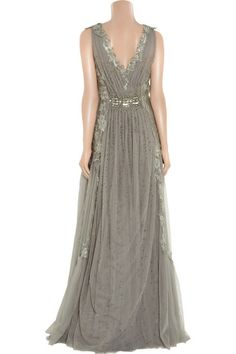 Alberta Ferretti Embroidered Tulle Gown in Gray (anthracite) | Lyst