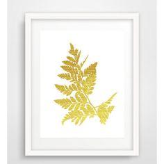 Gold fern leaf, Botanical Leaf Print, Fern Leaf Print, Fern leaf... (€5,70) ❤ liked on Polyvore featuring home, home decor and wall art