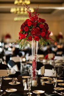 So romantic this GORG red rose centerpiece