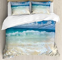 Wave Queen Size Duvet Cover Set by Ambesonne, Beach with Foamy Waves on Empty Sea Shore Holiday Theme Serene Coastal, Decorative 3 Piece Bedding Set with 2 Pillow Shams, Blue White Sand Brown Beach Theme Bedding, Nautical Bedding Sets, Ocean Bedding, Beach Comforter, Beach Bedding Sets, Beach Bedroom Decor, Coastal Bedding, Comforter Cover, Bedroom Themes