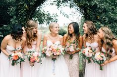 I love the idea of the maid of honor wearing a different dress. And the bouquets are beautiful!