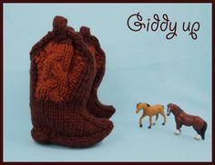 Giddyup Baby Cowboy Bootie Knitting Pattern by caffaknitted